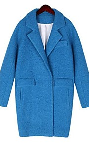 Women's Lapel Thick Long Woolen Coat