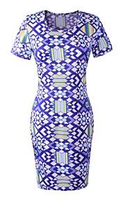 Women's Club Dress Knee-length Short Sleeve Blue Polyester Spring / Summer / Fall