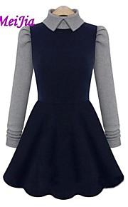 Women's Work Dress Above Knee Long Sleeve Blue Cotton Fall / Winter
