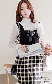 Women's Work Dress,Plaid Above Knee Sleeveless Black Polyester / Spandex Winter