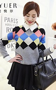 Women's Blue/Beige/Gray Pullover , Casual Long Sleeve