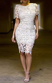 vrouwen witte kanten ronde hals uitsnijding lange bodycon dress