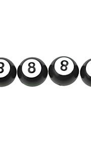 neumático de coche de lujo negro 8 válvulas de bola de la decoración de cobre tapa (4 piezas por paquete)