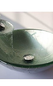 prata rodada temperado pia vaso de vidro com torneira em cascata, pop - up de drenagem e anel de montagem