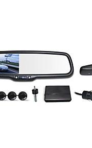 """12v 4 парковочные датчики 4.3 """"ЖК-дисплей камеры видео автомобиль зеркало заднего вида обратной радиолокационную систему"""