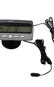 cigar lighter sort multi-fonction bil digitalt ur med termometer og bilindustrien voltmeter / kalender (12v)