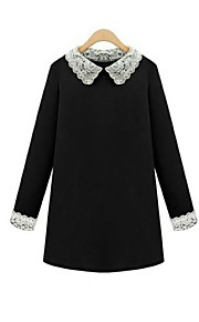 Women's Work Plus Size Dress,Color Block Above Knee Long Sleeve Black Cotton Fall / Winter