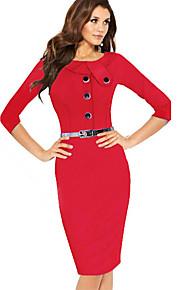 vrouwen Bodycom ¾ mouw jurk met riem