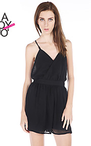Women's Black Jumpsuits , Sexy/Casual Sleeveless
