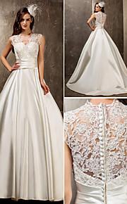 Lanting una línea / princesa más los tamaños del vestido de boda - marfil barrido / cepillo tren de la reina Ana de satén / cordón