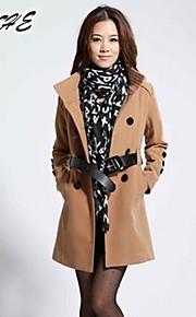Women's collar double-breasted ol cloth coat OUTW6