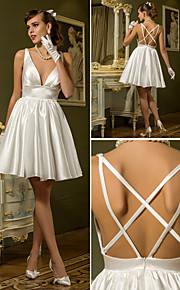 Lanting una línea más el tamaño de vestido de novia - marfil / mini-v-cuello corto tramo de satén