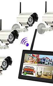 7 pulgadas TFT 2.4g digital de cámaras inalámbricas de audio y vídeo bebé supervisa el sistema de seguridad dvr quad de 4 canales