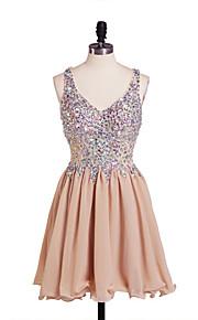 שמלה קו A - V-צוואר - קצר / מיני - שיפון
