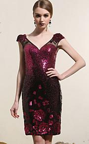 Коктейль-приём Платье - Пурпурный Платье-чехол V-образный Мини-платье Атлас