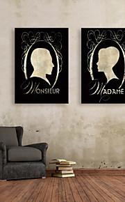 e-FOYER toile tendue art photo de profil jeu de la peinture décorative des deux