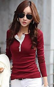 kvinders afslappet ensfarvet slank T-shirt, lange ærmer plus size