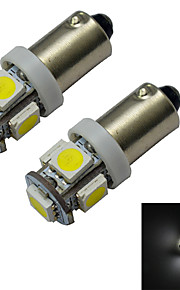 2pcs BA9S 1W 5x5050smd 70-100lm 6000-6500k condotto bianco freddo luce dell'automobile (12V DC)