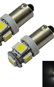2 stuks BA9S 1W 5x5050smd 70-100lm 6000-6500K koel wit led auto licht (DC 12V)
