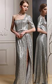 Официальный вечер Платье - Серебряный Платье-чехол На одно плечо Длина до пола Атлас