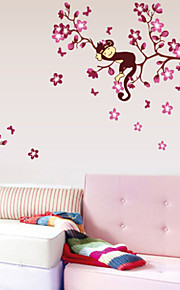 Nursery Wall Decal Monkey Flower Wall Sticker Children Room Decorations Zooyoo7020