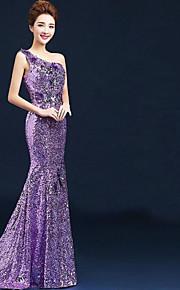 Официальный вечер Платье - Сиреневый Бальное платье  На одно плечо Длина до пола Velet шифон