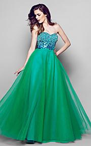Formeller Abend Kleid Organza - A-Linie - bodenlang - Herz-Ausschnitt