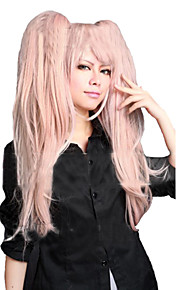 Angelaicos Women Danganronpa Junko Enoshima Long Pink Fluffy Lolita Harajuku Party 2 Clip on Ponytail Pink Cosplay Wig