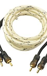 Auto Car 2M Long Dual RCA Male Composite AV Cable--White