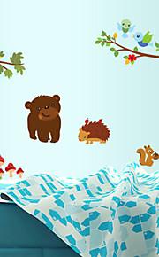 väggdekorationer väggdekaler, tecknade djur zoo pvc vägg klistermärken