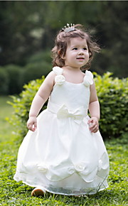 A-linja Satiini Flower Girl Dress - Hihaton - Polven alle