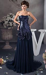 Официальный вечер Платье - Темно-синий  Трапеция Без лямок Длина до пола Атлас/С блестками