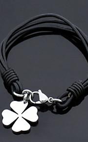 Unisex korean style Fashion Four Leaf Clover Charm Bracelet Faux Leather