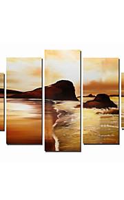 håndmalte art vegg dekor moderne kunst solnedgang på stranden oljemaleri på lerret 5pcs / set (uten ramme)