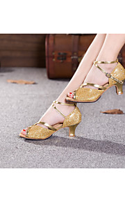 Women's Dance Shoes Belly/Latin/Samba Leatherette/Sparkling Glitter/Paillette/Synthetic Cuban Heel Blue/Gold/Other