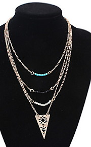 Women's Europe And The United States Three Layers Hollow Out The Triangle Alloy Necklace Sweater Chain