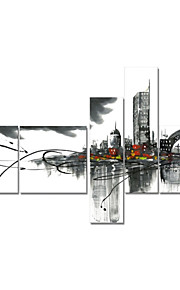 håndmalte art vegg dekor svart hvit bybildet oljemaleri på lerret 5pcs / set (uten ramme)