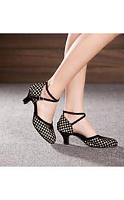 Women's Dance Shoes Belly/Latin/Samba Velvet/Sparkling Glitter/Paillette/Synthetic Cuban Heel Black/Red/Gold/Other