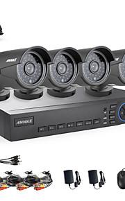 annke 4ch ahd 720p dvr / HVR / NVR + 4 720p 1.0mp ahd ip camera 100ft nachtzicht weerbestendig beveiligingssysteem