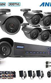 annke® 8ch 960H dvr ecloud hdmi 1080p / VGA / BNC-uitgang 8 stuks 900tvl cmos 42leds dag / nacht ir-cut camera IP66