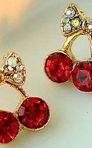 Women's Cute Red Cherry Delicate Diamond Earrings