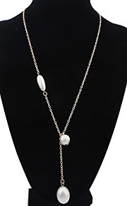 Women's Europe And The United States Elliptical Pearl Alloy Necklace Sweater Chain