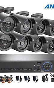 annke® 8ch ahd 720p dvr / HVR / NVR + 8 720p 1.0mp ahd ip camera 100ft nachtzicht weerbestendig beveiligingssysteem