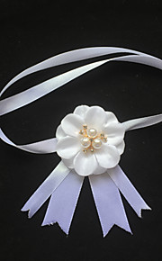 Garter Stretch Satin Flower/Imitation Pearl White