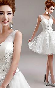 Robe de Mariage - Blanc Trapèze Col en V Court/Mini Court/Mini