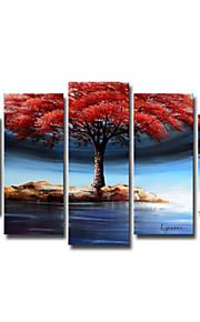 håndmalte art vegg dekor kraftig treet på vannet oljemaleri på lerret 5pcs / set (uten ramme)