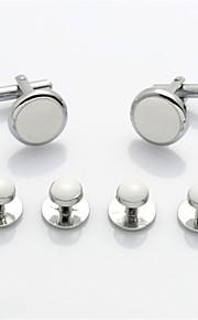 Men's Button Studs White Wedding Tuxedo Suit Shirt Cufflinks Set