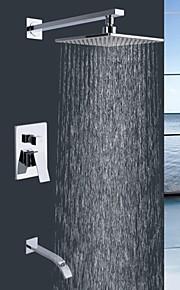 """shengbaier robinet de douche mural contemporain monté à double poignées plastique ABS de qualité avec 9 """"robinet carré"""