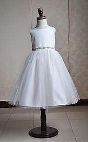 Vestido para Meninas das Flores - Baile Comprimento Médio Sem Mangas Cetim/Tule