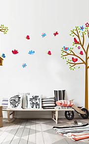 adesivos de parede parede ninho pvc etiquetas estilo decalques de parede árvore dos desenhos animados do pássaro